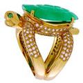 Кольцо с бриллиантами,изумрудами и нефритом, Золото 750