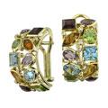 Серьги с бриллиантами и цветными вставками, Золото 750