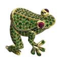 Кольцо лягушка с рубинами и тсаворитами, Золото 750