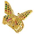 Кольцо с бриллиантами и драгоценными цветными вставками, Золото 750
