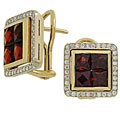 Серьги с бриллиантами и гранатами, Золото 750