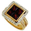 Кольцо с бриллиантами и гранатами, Золото 750