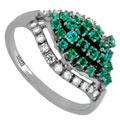 Кольцо с бриллиантами и изумрудами, Золото 585