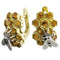 Серьги с бриллиантами и цитринами, эмаль, Золото 750