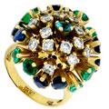 Кольцо с бриллиантами,сапфирами,изумрудами, Золото 750
