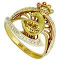 Кольцо с бриллиантами сапфирами и цитрином, Золото 750