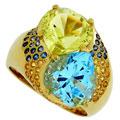 Кольцо с драгоценными и цветными вставками, Золото 750