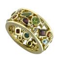 Кольцо с бриллиантами и цветными вставками, Золото 750