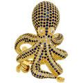 Кольцо с бриллиантами и сапфирами, Золото 750