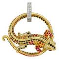 Подвеска с бриллиантами и драгоценными цветными вставками, Золото 750