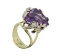 Кольцо с бриллиантами и аметистами, Золото 750