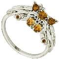 Кольцо с бриллиантами и цитринами, Золото 585