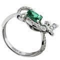 Кольцо с бриллиантами и изумрудом, Золото 750