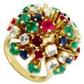 Кольцо с бриллиантом, рубином, изумрудом, сапфиром, Золото 750