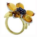 Кольцо с сапфирами и цитринами, Золото 750