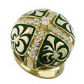 Кольцо с бриллиантами, эмаль, Золото 750