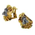 Серьги с бриллиантами, цитринами и эмалью, Золото 750