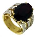 Кольцо с бриллиантами и гранатом, Золото 750