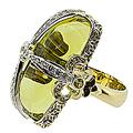 Кольцо с бриллиантами, сапфирами и цитрином, Золото 750