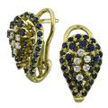 Серьги с бриллиантами и сапфирами, Золото 750