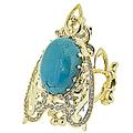 Кольцо с бриллиантами и бирюзой, Золото 750