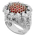 Кольцо с рубинами, Палладий 850