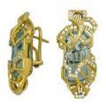 Серьги с бриллиантами и аквамаринами, Золото 750