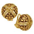 Серьги с бриллиантами и эмалью, Золото 750
