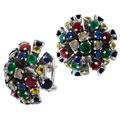 Серьги с бриллиантами и цветными камнями, Золото 585
