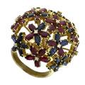 Кольцо с бриллиантами, сапфирами и рубинами, Золото 750