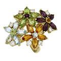 Кольцо с бриллиантами, родолитами, хризолитами, топазами, цитринами, Золото 585
