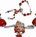Колье с бриллиантами и кораллами, Палладий 850, Золото 750