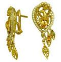 Серьги с бриллиантами и драгоценными камнями, Золото 750