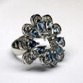 Кольцо с бриллиантами и топазами, Золото 585