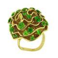 Кольцо с демантоидами и тсаворитами, Золото 750