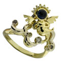 Кольцо с бриллиантами и сапфиром, Золото 750