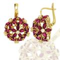 Серьги с бриллиантами и рубинами, Золото 750