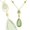 Колье с бриллиантами, цитринами и празеолитами, Золото 750