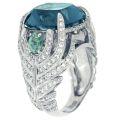Кольцо с бриллиантами, сапфирами и топазом, Золото 585