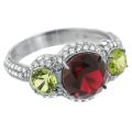 Кольцо с бриллиантами, хризолитами и турмалином, Золото 585