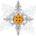 Подвеска с бриллиантами и цитрином, Золото 585