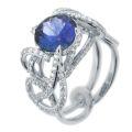 Кольцо с бриллиантами и сапфиром, Золото 585