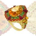 Кольцо рубинами, сапфирами, тсаворитами, цитринами, Золото 750