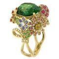 Кольцо с бриллиантами, рубинами, сапфирами, тсаворитами, изумрудом, Золото 750