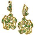 Серьги с бриллиантами и тсаворитами, Золото 750