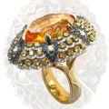 Кольцо с бриллиантами, сапфирами и цитрином, Золото 585