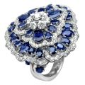 Кольцо с бриллиантами и сапфирами, Золото 585