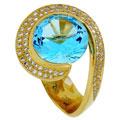 Кольцо с топазом и бриллиантами, Золото 750