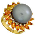 Кольцо с бриллиантами, жемчугом и сапфирами, Золото 750