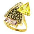 Кольцо с бриллиантами и цветными камнями, Золото 585